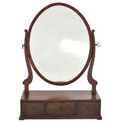 Antique Sheraton Mahogany Dressing Mirror