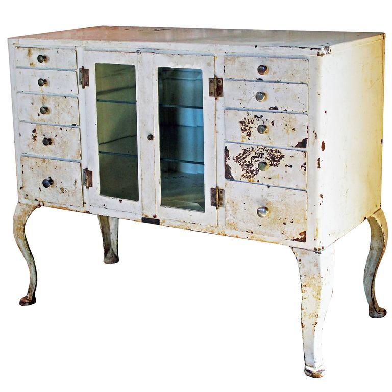Medical Cabinet Vintage Industrial Glass Steel Metal  Doctors Storage Distressed