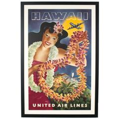 Hawaii Travel Advertising Poster ORIGINAL 1949 United Airlines Hula Girl, Feher