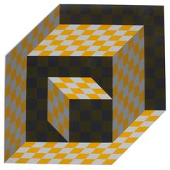 "Victor Vasarely ""Axo"" Screen-Print on Aluminum Sculpture, Signed"
