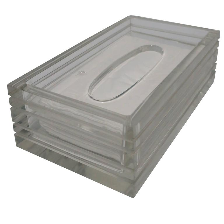 Modern Lucite Tissue Box in the Style of Charles Hollis Jones, ca. 1970s For Sale