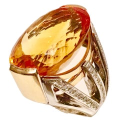 50 Karat Citrine and Diamonds Gold One Of A Kind Ring