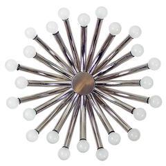 Large Twenty-Four-Light Flush Mount Chrome Sputnik Lamp
