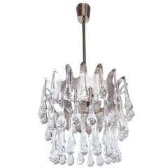 Teardrop Chandelier Murano Glass & Silver Leaf by Palwa, Germany, 1970s