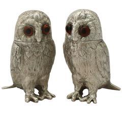 Elizabeth II Sterling Silver Owl Pepperettes