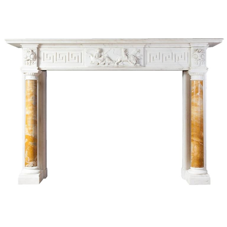 Antique Regency Statuary Marble Fireplace For Sale
