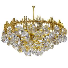 Crystal Gilt Chandelier by Palwa, Germany 1960s