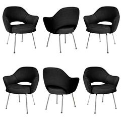 Saarinen Executive Arm Chairs in Black Weave, Set of Six