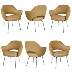 Saarinen for Knoll Executive Arm Chairs in Gold Woven-Microfiber, Set of Six