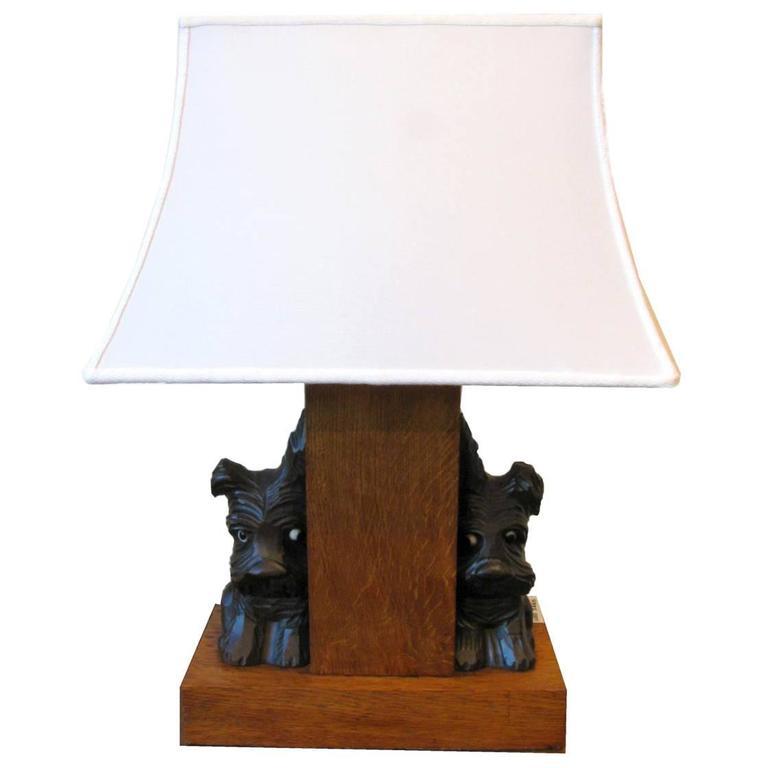 Scottish Terrier Dog Figures Oak  Rectangular Table Lamp from France