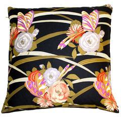 Vintage Fabric Large Floor cushion 1970s British Art Nouveau revival cotton