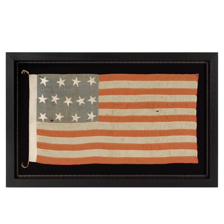 13 Star Antique American Flag of the Civil War Era in a Desirable Small Scale