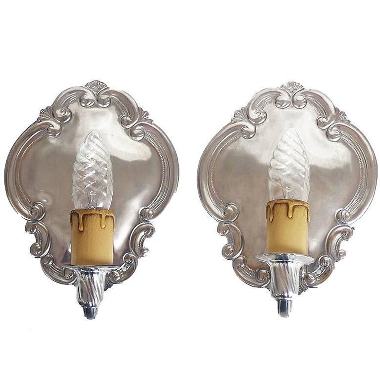 Pair Of Vintage Pewter Wall Sconces By August Weygang Germany
