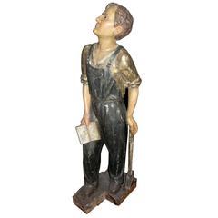 Antique Lacquered Statue