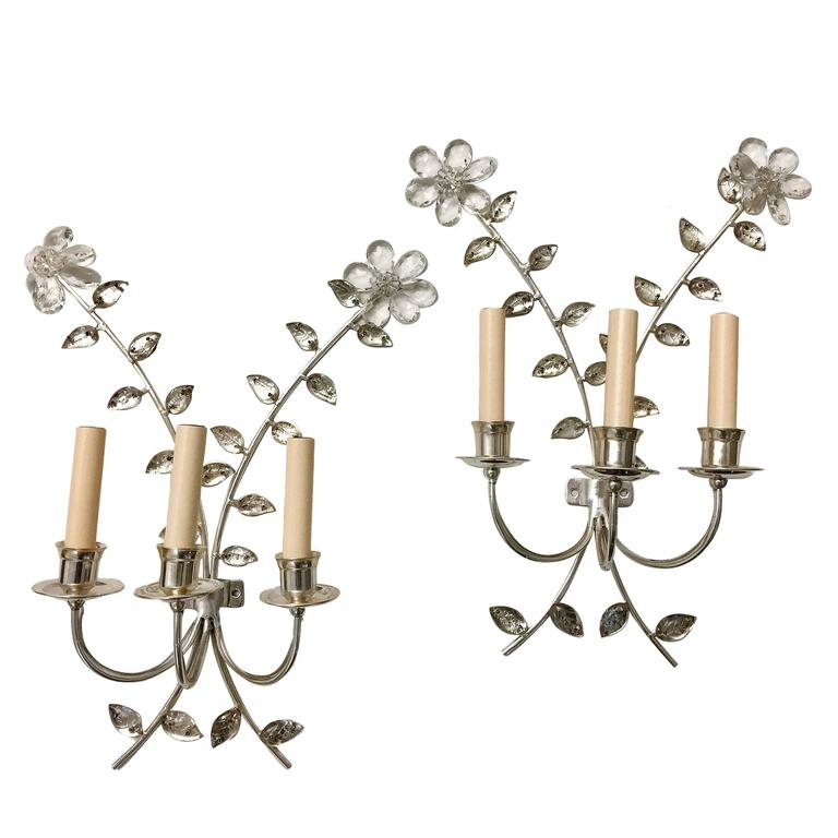 Pair of Silver Plated Bagues Sconces