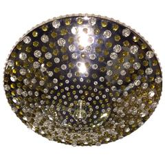 Nickel-Plated Light Fixture with Crystal Insets
