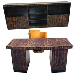 Maurice Alet, Desk, Bookcase and Armchair in Ebony Macassar