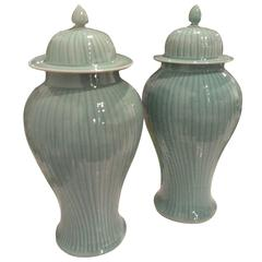 Pair Ginger Jars Mint Green Celedon Faux Bamboo Pattern Hollywood Regency