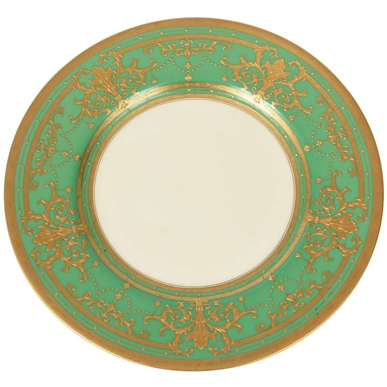 12 Elaborate Gilt Encrusted Antique Green and Gold Dinner Plates by Minton For Sale  sc 1 st  1stDibs : antique dinner plate - pezcame.com