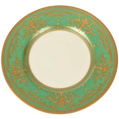 12 Elaborate Gilt Encrusted Antique Green and Gold Dinner Plates by Minton