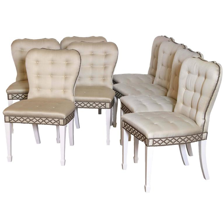 Set of Eight English Regency Style Dining Chairs