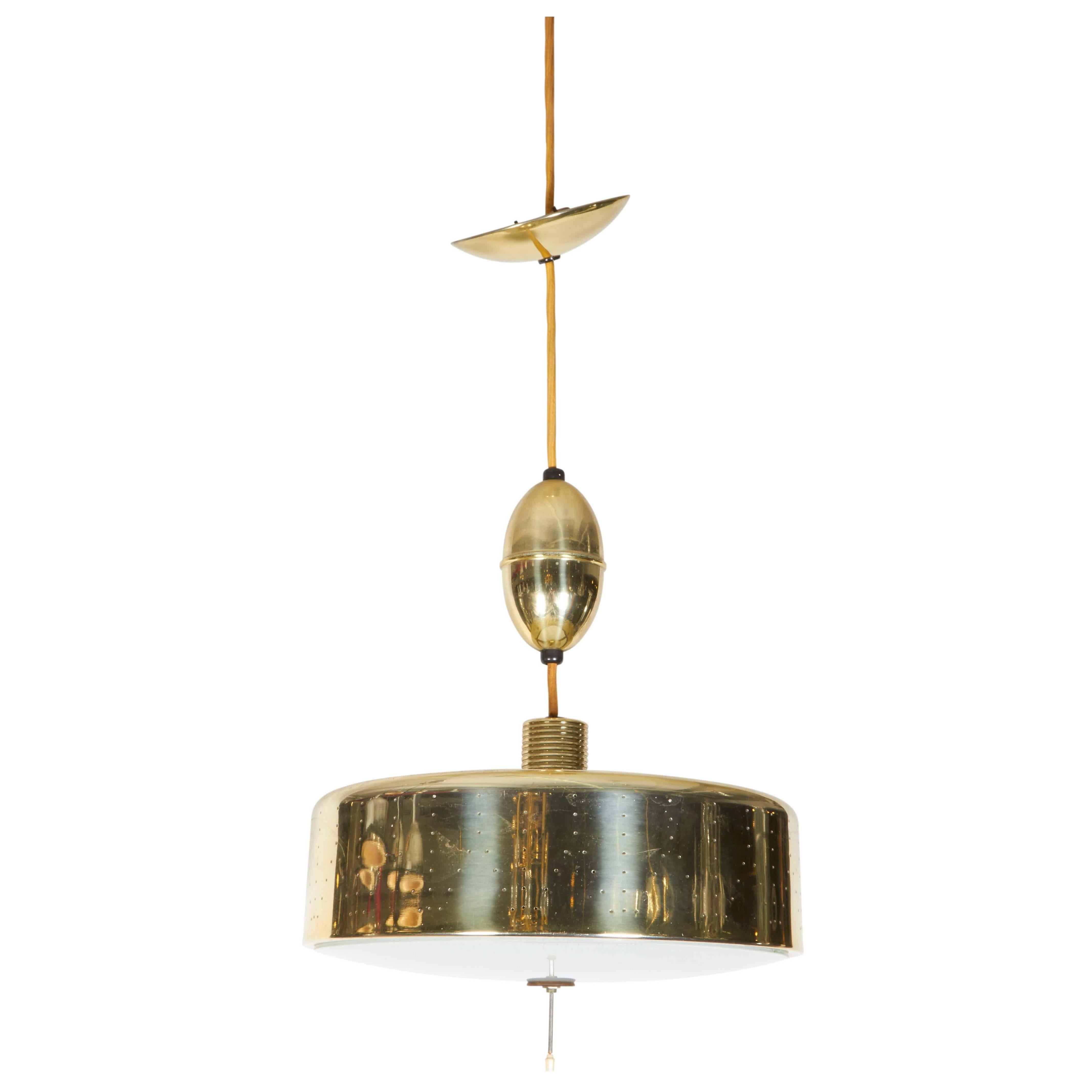 Adjustable Drum Pendant Light in Perforated Brass