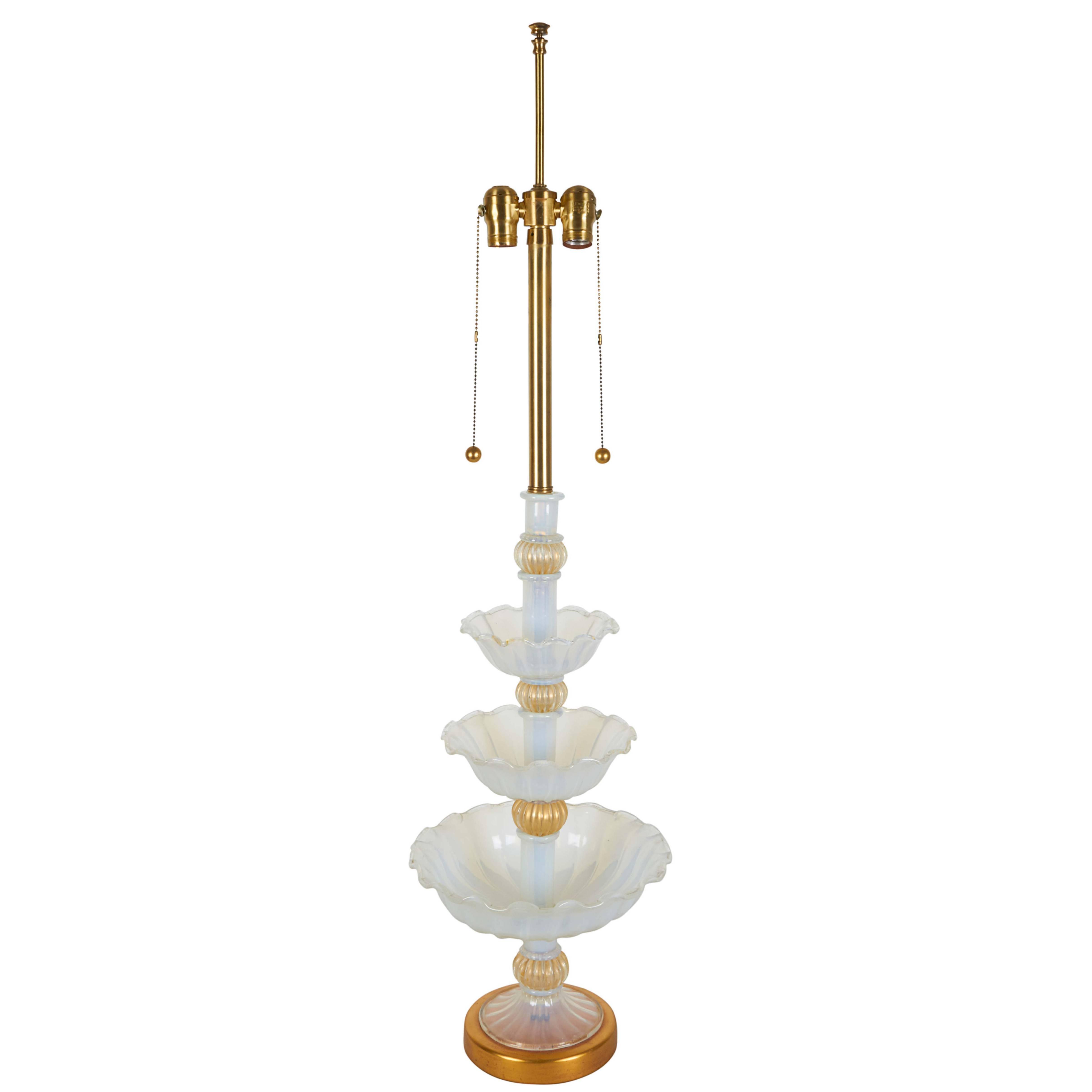 Seguso Murano Glass Handblown Opalescent Lamp