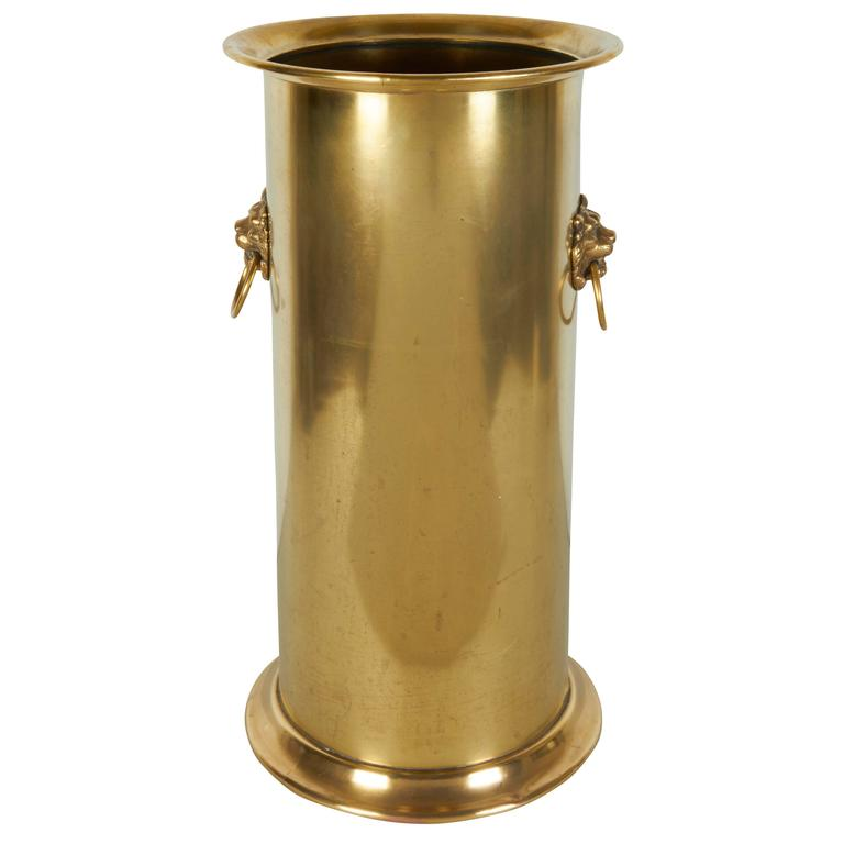 06c1ed7e898d English 1930s Brass Umbrella Stand with Lion s Head at 1stdibs