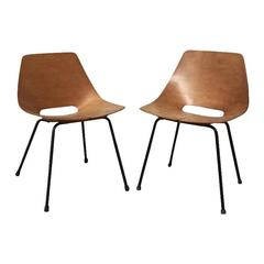 Pair of Tonneau Chairs by Pierre Guariche, France, 1950s