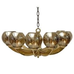 Gilt Bronze Light Fixture with Amber Globes