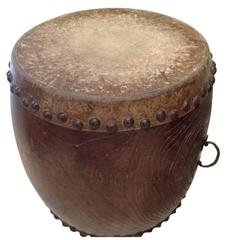 Fine Early and Playable Taiko Drum, Keyaki Wood Meiji Period, 19th Century Japan