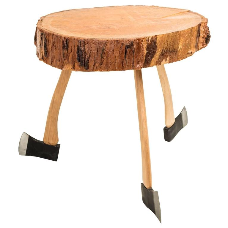 Axe handle base rustic pine coffee table for sale at 1stdibs Rustic black coffee table