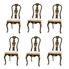 Set of Six Baker Knapp and Tubbs Black Lacquer Chinese Detail Dining Chairs