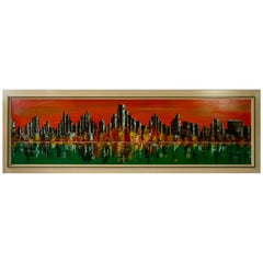 New York Skyline Painting, Signed 1971