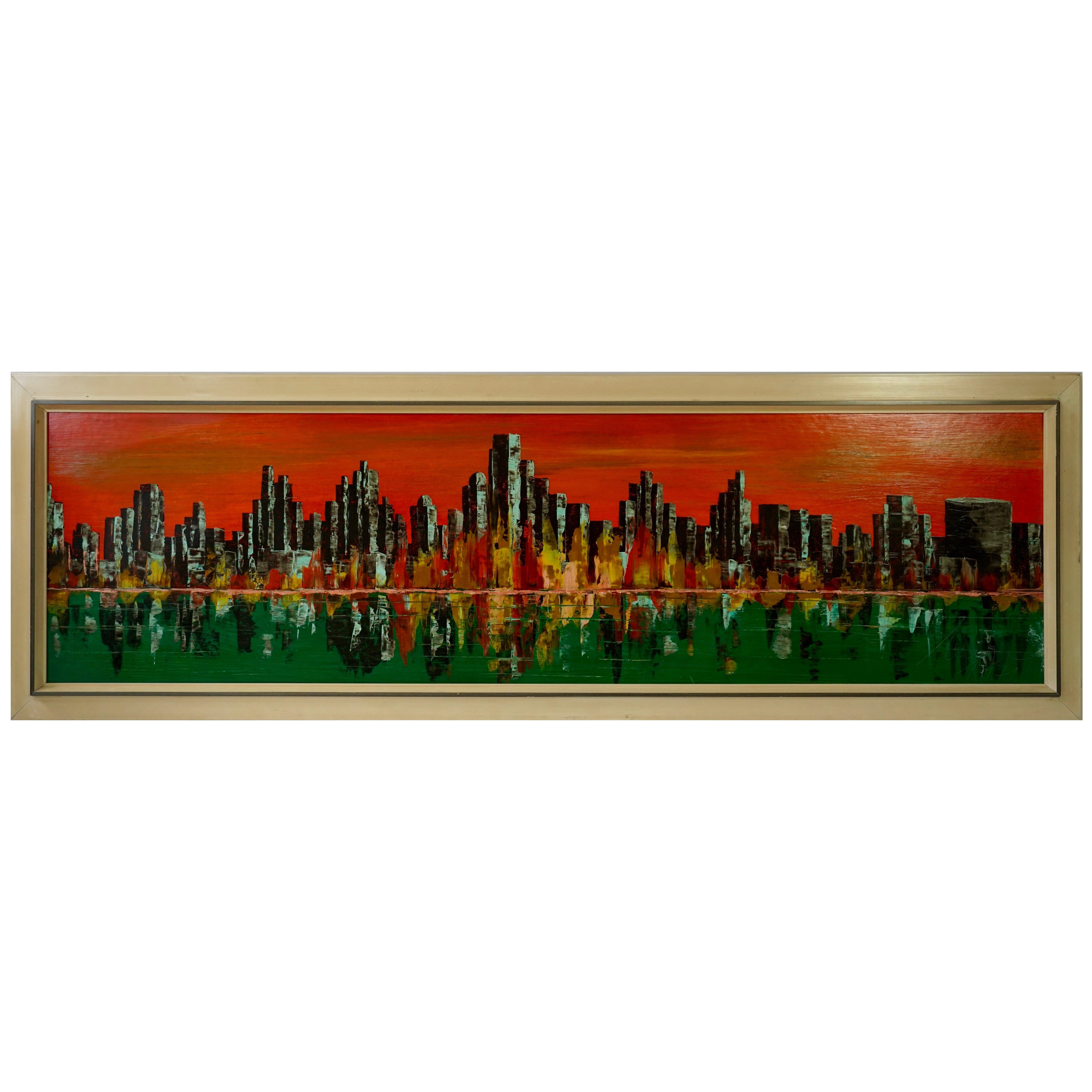 New York Skyline Painting, Signed 1971