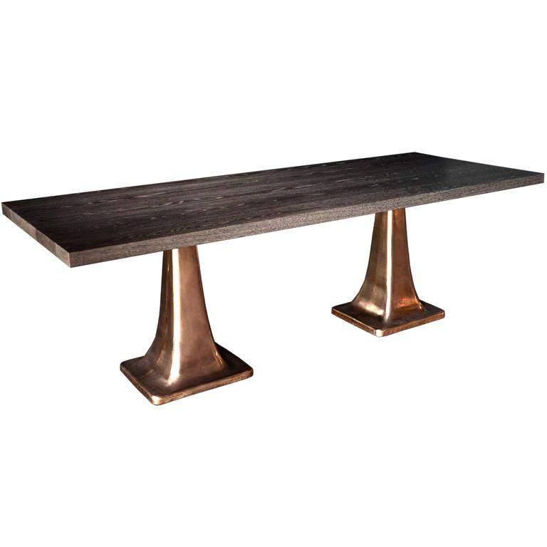 Dual Bronze Pedestal Dining Table For Sale