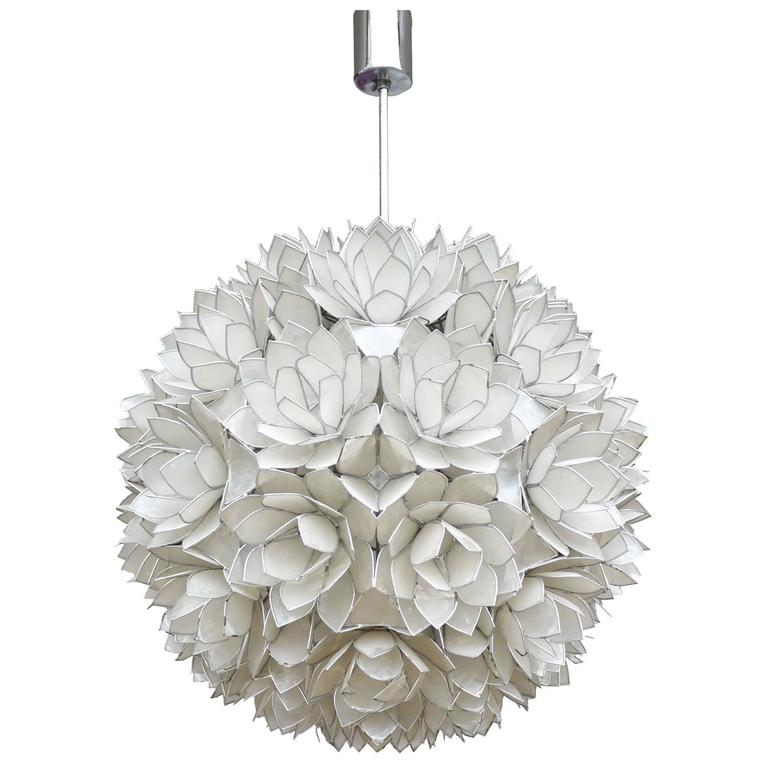 Large Capiz Shell Pendant Light Lotus Ball 1960s For