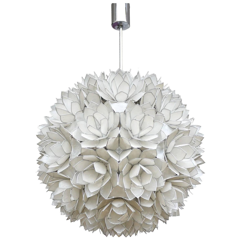 1960s capiz shell floral globe light fixture for sale at 1stdibs large capiz shell pendant light lotus ball 1960s arubaitofo Images