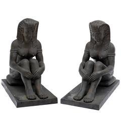 Bronze-Skulpturen im ägyptischen Stil, Art-Déco, um 1900