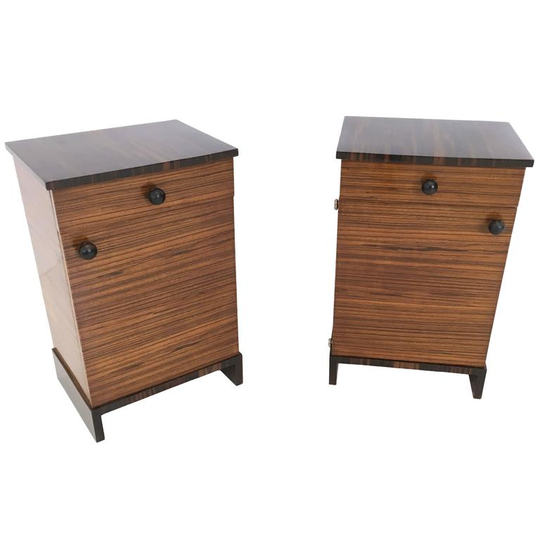 Pair of Art Deco Zebrawood and Macassar Ebony Bedside Tables, Italy, 1940s
