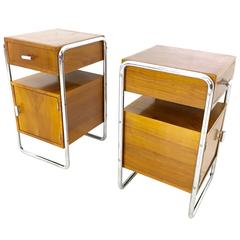 Pair of Walnut and Linoleum Bedside Tables, 1940s