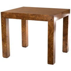 21st Century Burl Olivewood Parsons Side Table