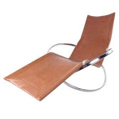 Modernist Chrome and Vinyl Chaise Lounge Chair