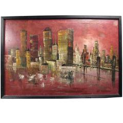 Mid-Century Modern Acrylic Painting of City Skyline, Signed March