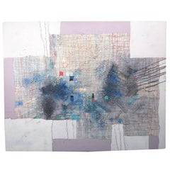 Vintage Abstract Mixed-Media Collage Acrylic Painting