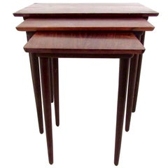 Danish Modern Rosewood Nesting Tables by Bramin