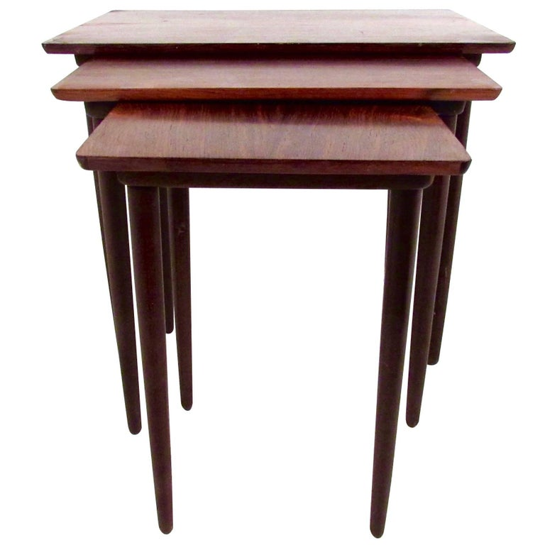 Danish Modern Rosewood Nesting Tables by Bramin For Sale