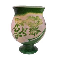 """French Art Nouveau """"Grande Berce Des Prés"""" Cameo Glass Vase by Daum"""