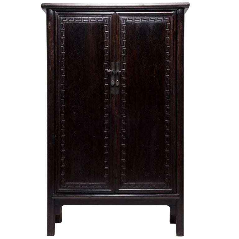 Tall Chinese Greek Key Cabinet, c. 1850 For Sale