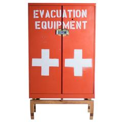 Contemporary Found and Retrofitted Painted Metal Cabinet Armoire in Stock
